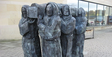 Fenwick Lawson's sculpture The Journey, which depicts the bringing of St Cuthbert's relics to Durham.