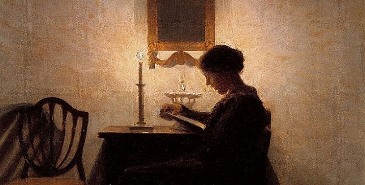 Peter Vilhelm Ilsted 'Woman Reading by Candlelight' 1908, via Plum Leaves (reproduced under CC BY 2.0 licence).