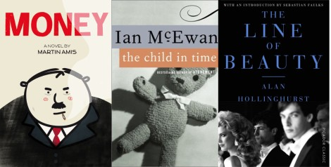 Covers of the novels Money, The Child in Time and The Line of Beauty