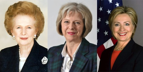 Margaret Thatcher, Theresa May and Hillary Clinton